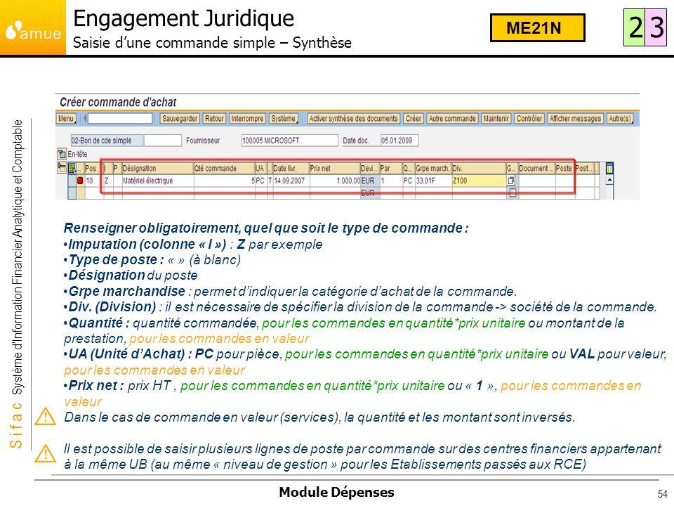S i f a c Système dInformation Financier Analytique et Comptable Module Dépenses 54 Renseigner obligatoirement, quel que soit le type de commande : Im