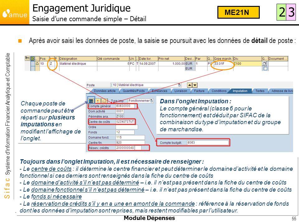 S i f a c Système dInformation Financier Analytique et Comptable Module Dépenses 55 Après avoir saisi les données de poste, la saisie se poursuit avec