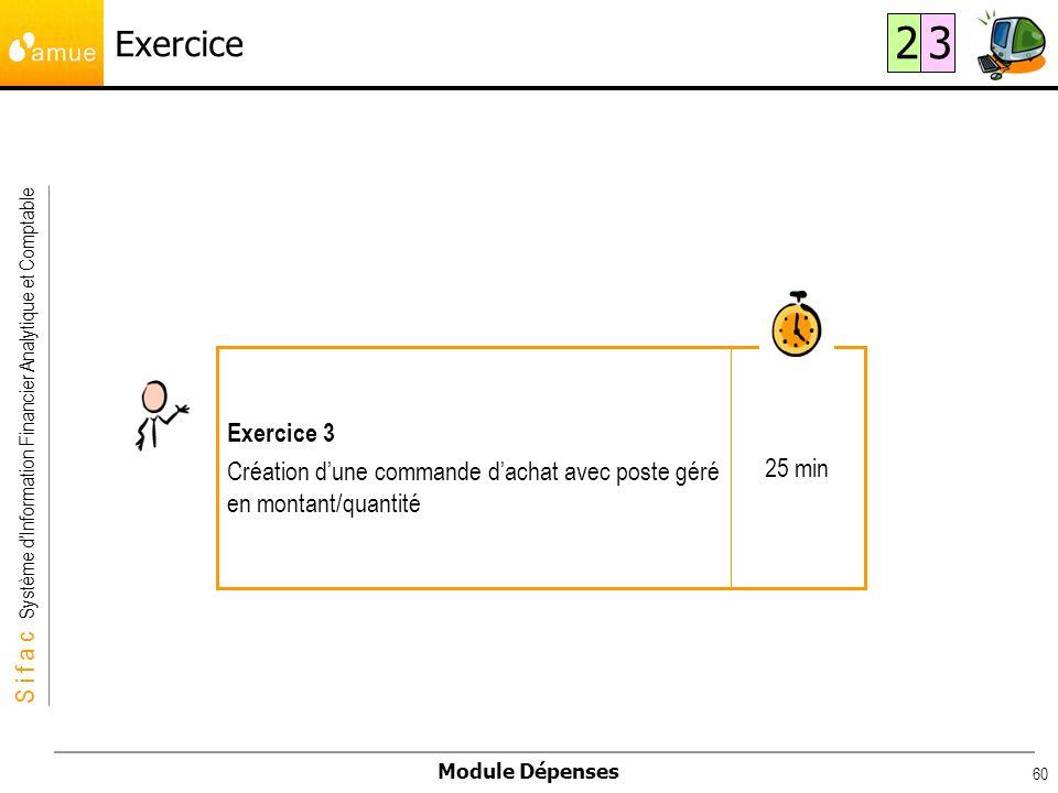 S i f a c Système dInformation Financier Analytique et Comptable Module Dépenses 60 Exercice 25 min Exercice 3 Création dune commande dachat avec post
