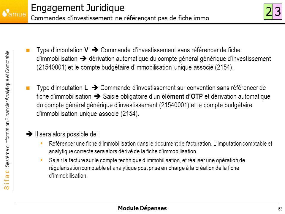 S i f a c Système dInformation Financier Analytique et Comptable Module Dépenses 63 Type dimputation V Commande dinvestissement sans référencer de fic