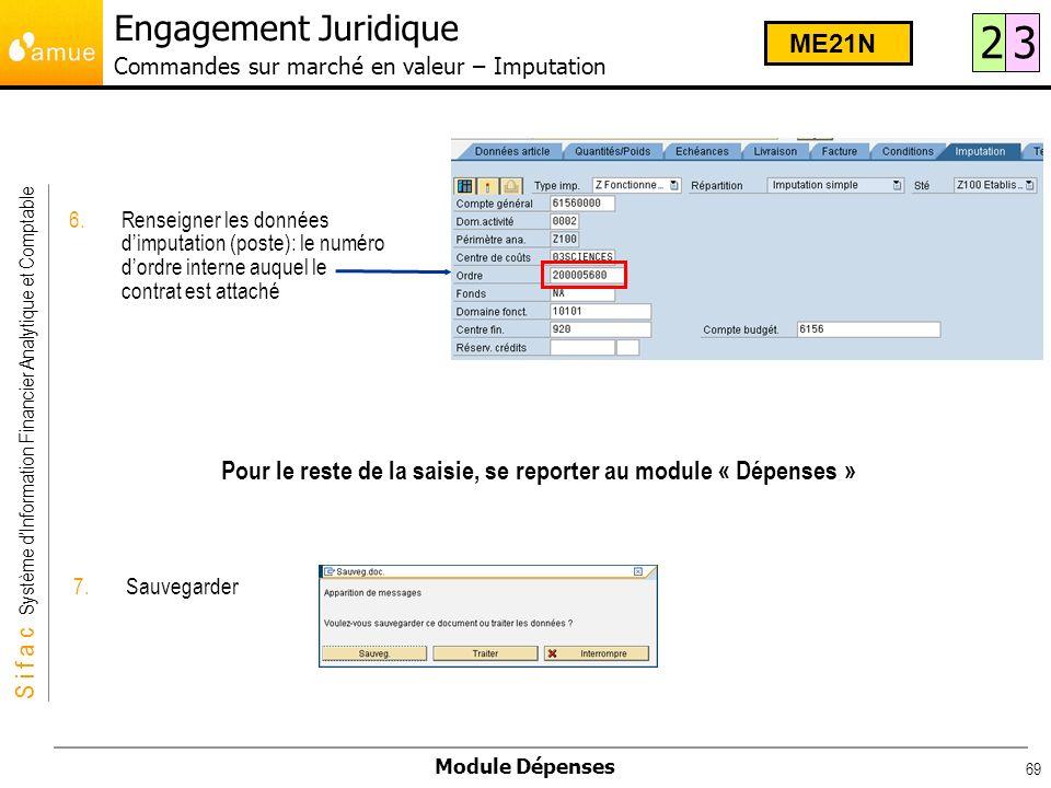 S i f a c Système dInformation Financier Analytique et Comptable Module Dépenses 69 6.Renseigner les données dimputation (poste): le numéro dordre int