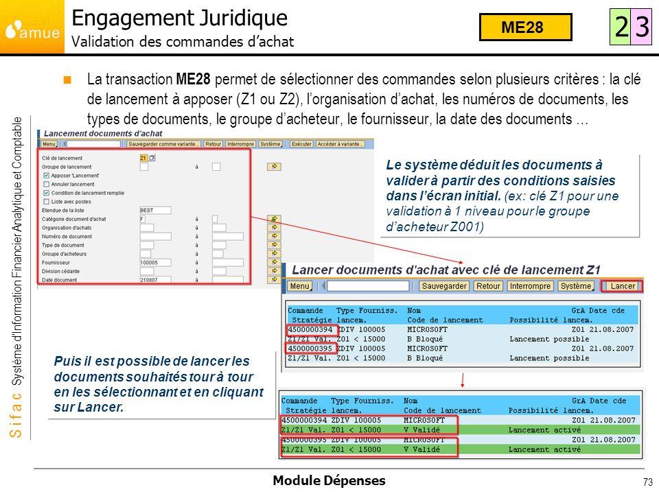 S i f a c Système dInformation Financier Analytique et Comptable Module Dépenses 73 La transaction ME28 permet de sélectionner des commandes selon plu
