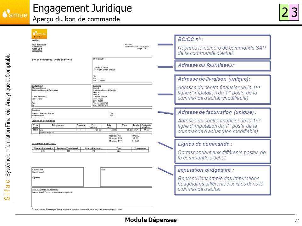 S i f a c Système dInformation Financier Analytique et Comptable Module Dépenses 77 Adresse du fournisseur Adresse de livraison (unique): Adresse du c