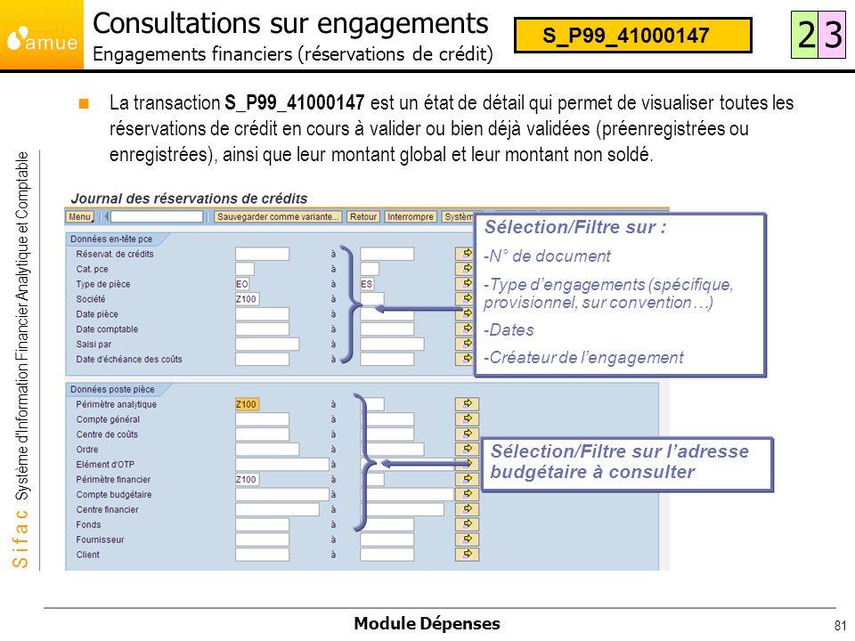S i f a c Système dInformation Financier Analytique et Comptable Module Dépenses 81 La transaction S_P99_41000147 est un état de détail qui permet de