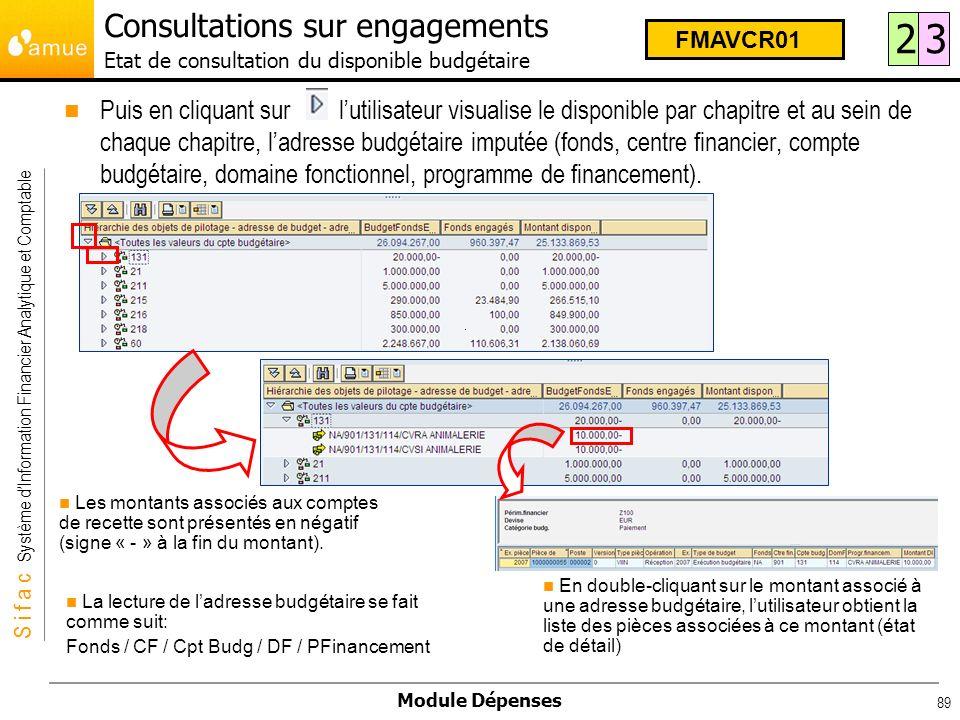 S i f a c Système dInformation Financier Analytique et Comptable Module Dépenses 89 Consultations sur engagements Etat de consultation du disponible b