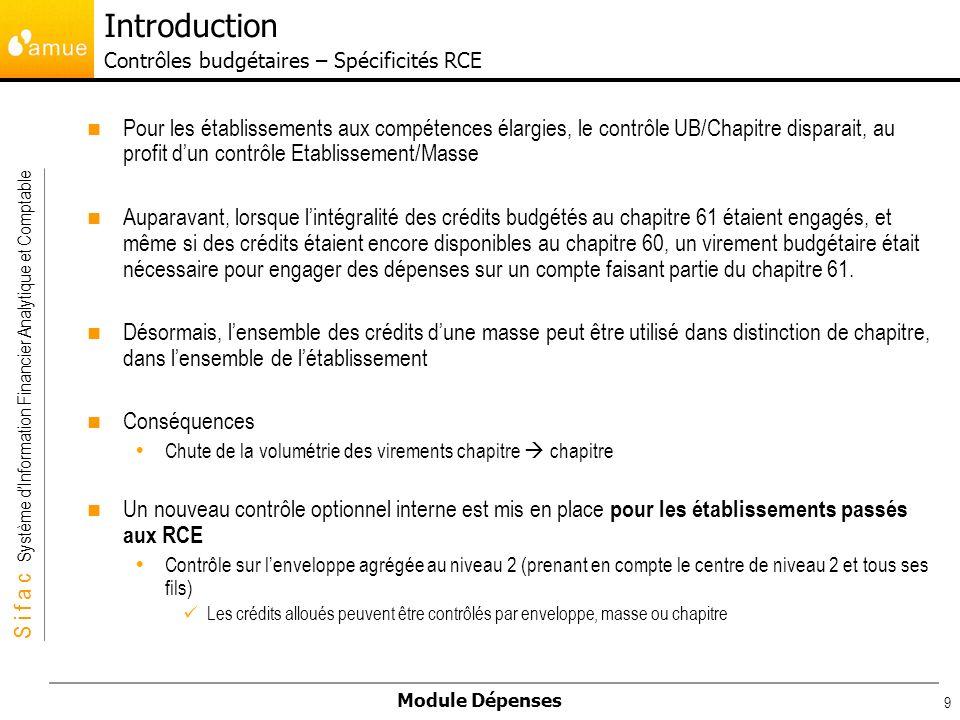 S i f a c Système dInformation Financier Analytique et Comptable Module Dépenses 9 Pour les établissements aux compétences élargies, le contrôle UB/Ch