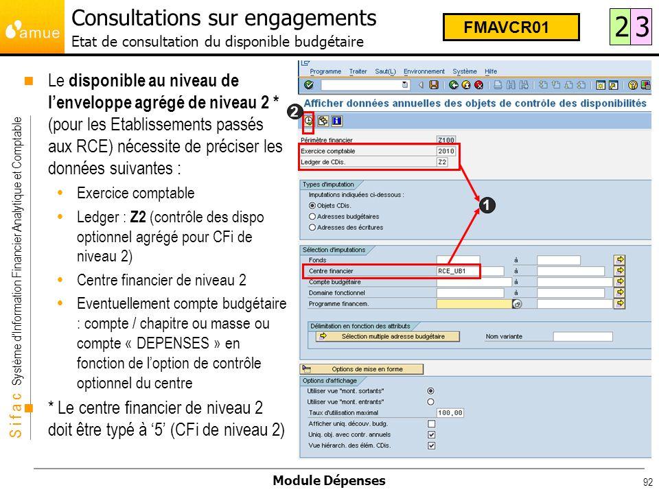 S i f a c Système dInformation Financier Analytique et Comptable Module Dépenses 92 Consultations sur engagements Etat de consultation du disponible b