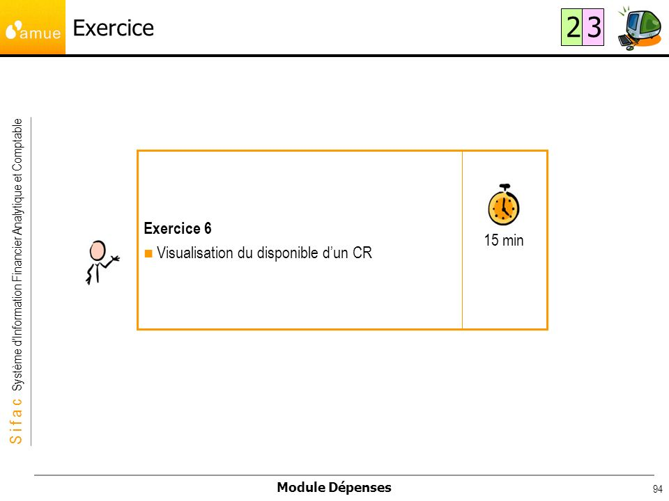S i f a c Système dInformation Financier Analytique et Comptable Module Dépenses 94 Exercice 15 min Exercice 6 Visualisation du disponible dun CR 23