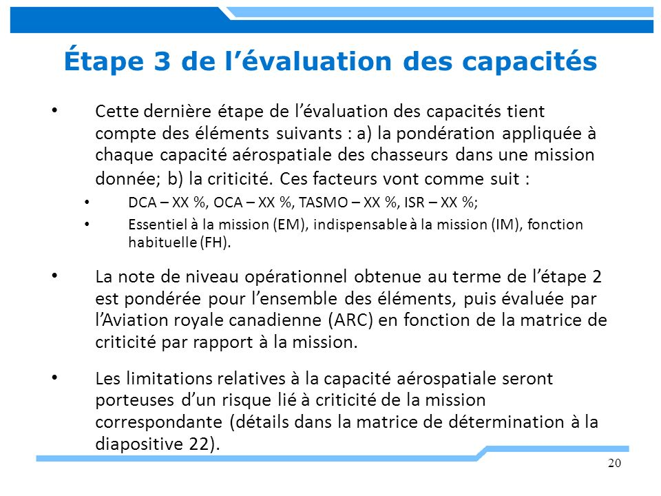 20 Étape 3 de lévaluation des capacités Cette dernière étape de lévaluation des capacités tient compte des éléments suivants : a) la pondération appli