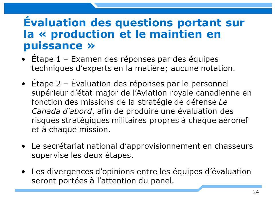 24 Évaluation des questions portant sur la « production et le maintien en puissance » Étape 1 – Examen des réponses par des équipes techniques dexpert
