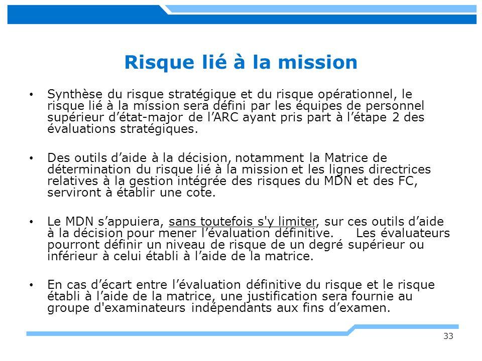 33 Risque lié à la mission Synthèse du risque stratégique et du risque opérationnel, le risque lié à la mission sera défini par les équipes de personn