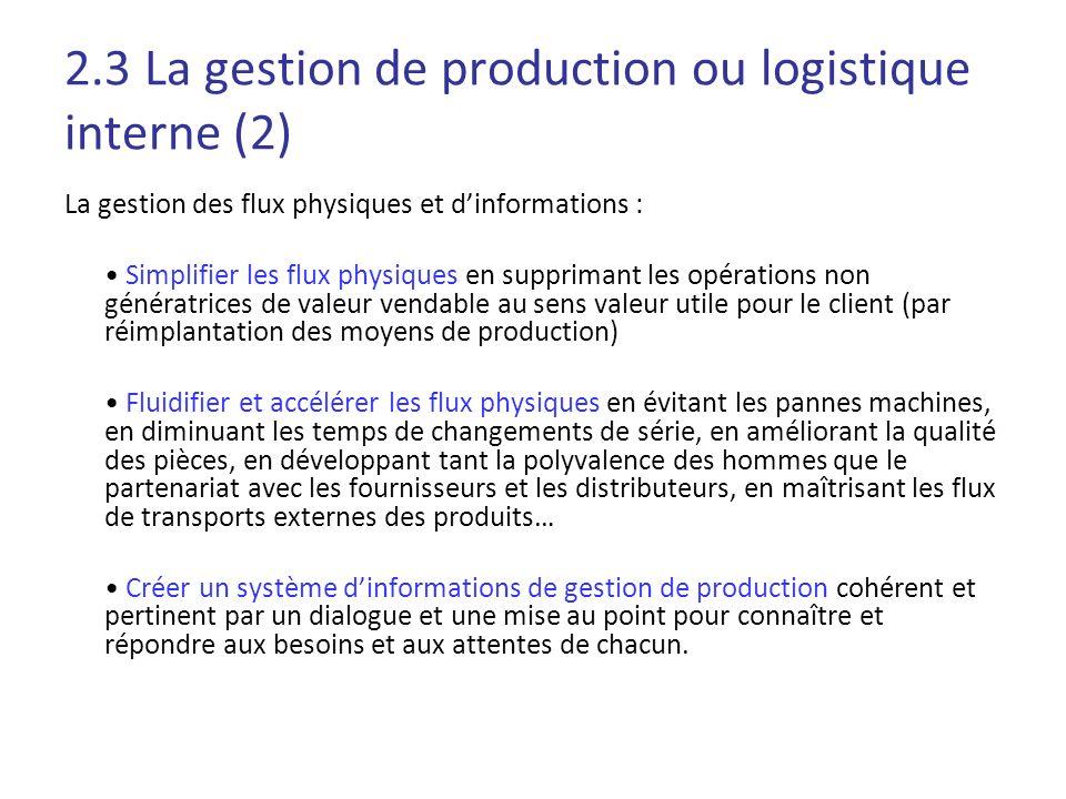 2.3 La gestion de production ou logistique interne (2) La gestion des flux physiques et dinformations : Simplifier les flux physiques en supprimant le