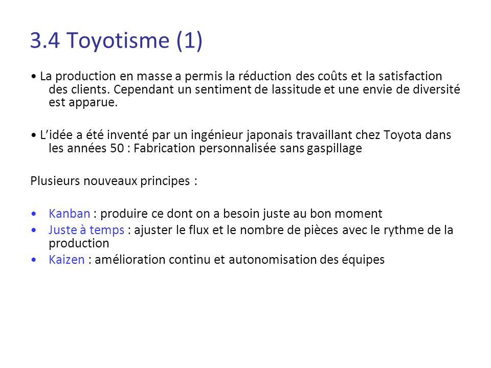 3.4 Toyotisme (1) La production en masse a permis la réduction des coûts et la satisfaction des clients. Cependant un sentiment de lassitude et une en
