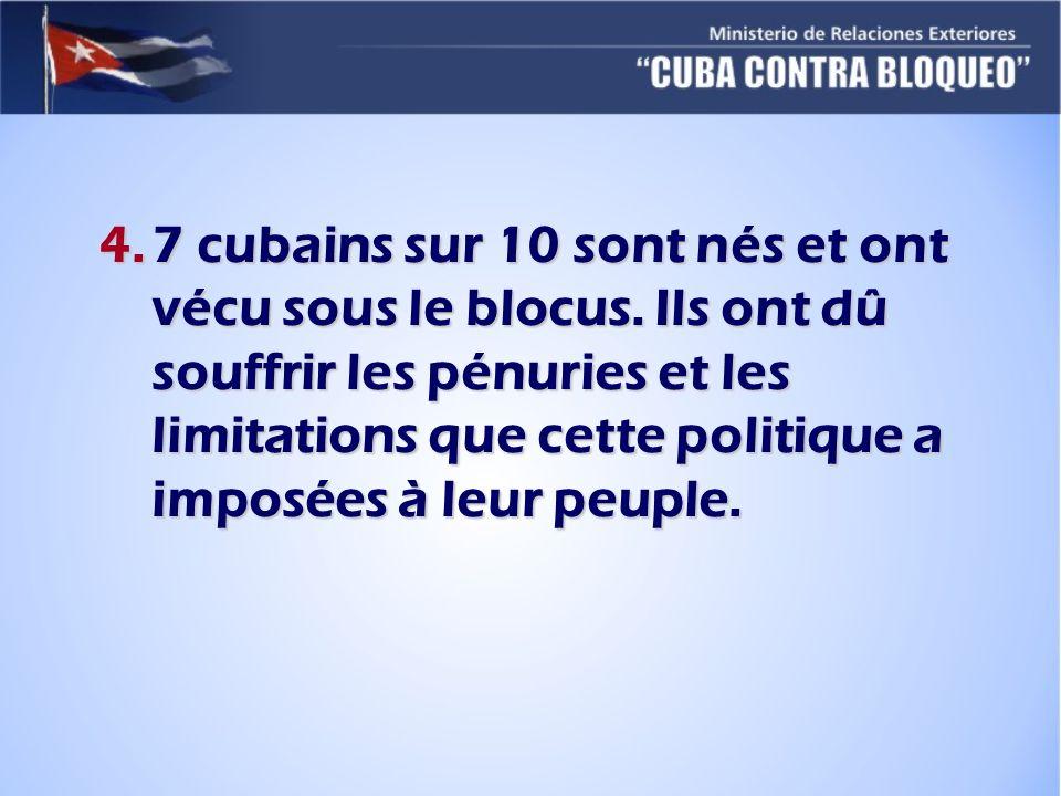 4.7 cubains sur 10 sont nés et ont vécu sous le blocus. Ils ont dû souffrir les pénuries et les limitations que cette politique a imposées à leur peup