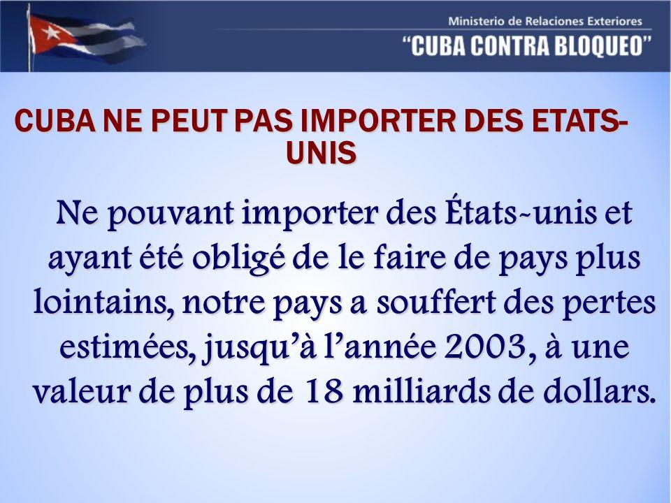 Ne pouvant importer des États-unis et ayant été obligé de le faire de pays plus lointains, notre pays a souffert des pertes estimées, jusquà lannée 2003, à une valeur de plus de 18 milliards de dollars.