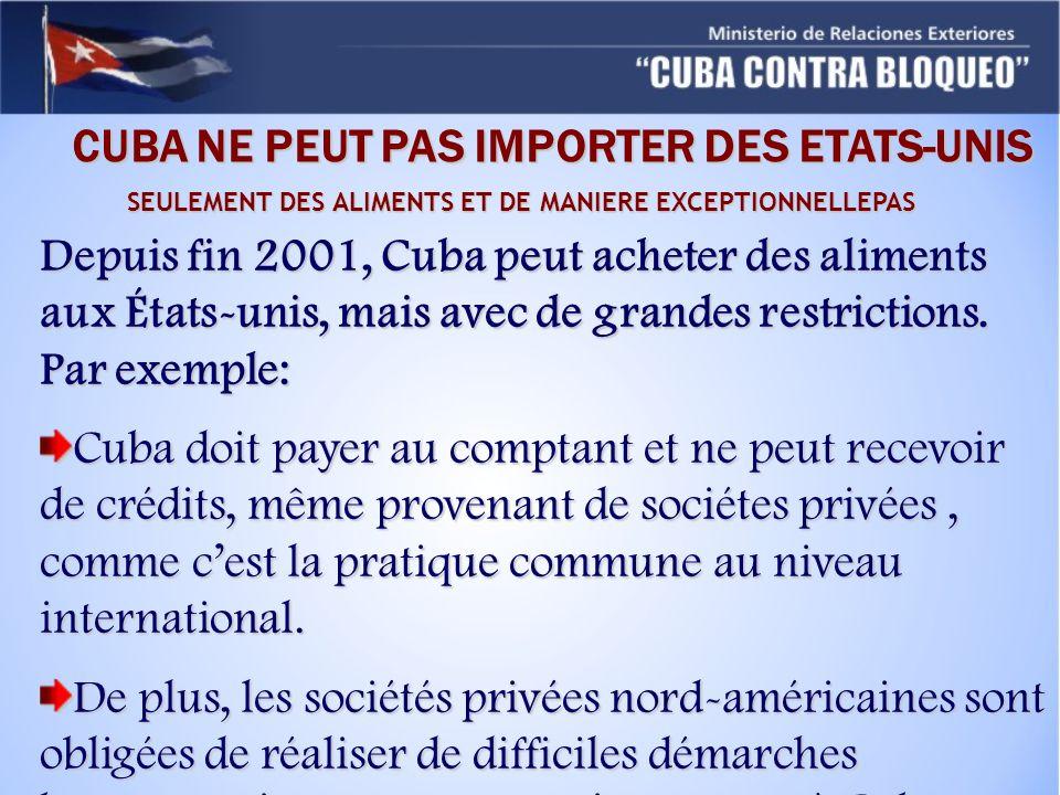 Depuis fin 2001, Cuba peut acheter des aliments aux États-unis, mais avec de grandes restrictions. Par exemple: Cuba doit payer au comptant et ne peut