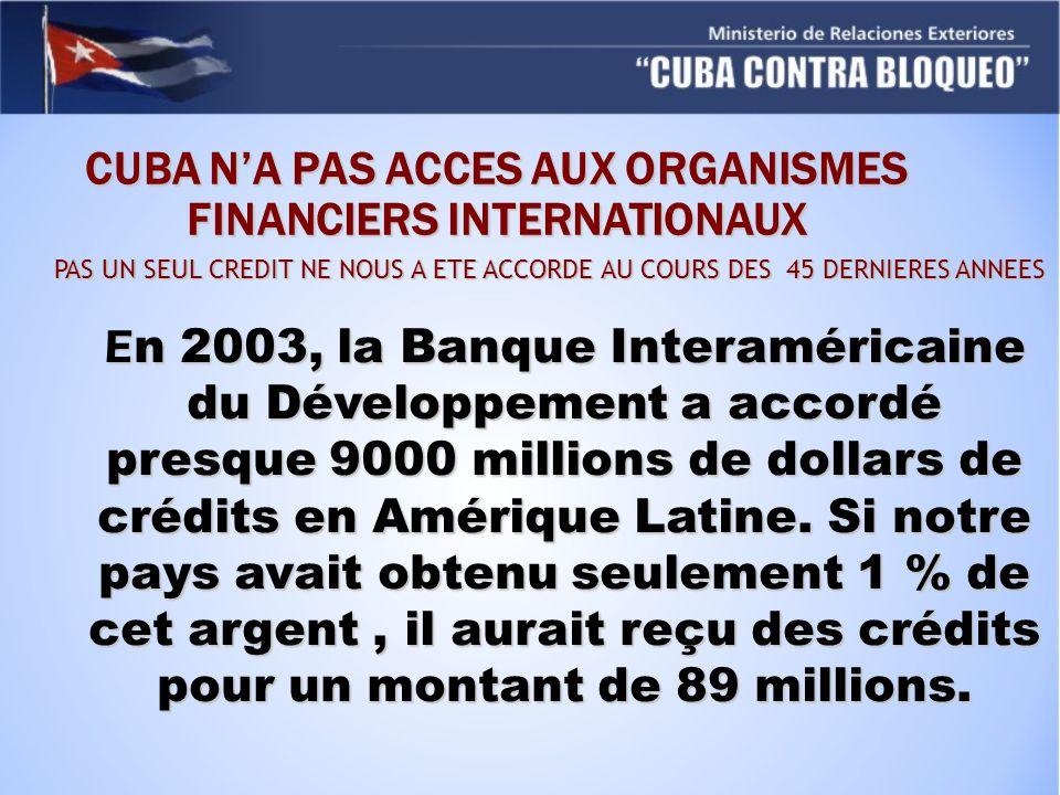 CUBA NA PAS ACCES AUX ORGANISMES FINANCIERS INTERNATIONAUX PAS UN SEUL CREDIT NE NOUS A ETE ACCORDE AU COURS DES 45 DERNIERES ANNEES E n 2003, la Banque Interaméricaine du Développement a accordé presque 9000 millions de dollars de crédits en Amérique Latine.