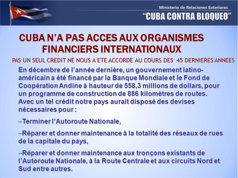 CUBA NA PAS ACCES AUX ORGANISMES FINANCIERS INTERNATIONAUX PAS UN SEUL CREDIT NE NOUS A ETE ACCORDE AU COURS DES 45 DERNIERES ANNEES En décembre de la