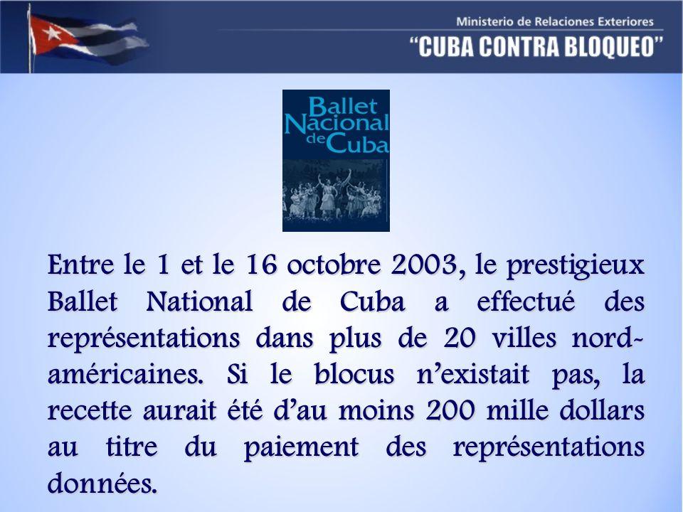Entre le 1 et le 16 octobre 2003, le prestigieux Ballet National de Cuba a effectué des représentations dans plus de 20 villes nord- américaines.