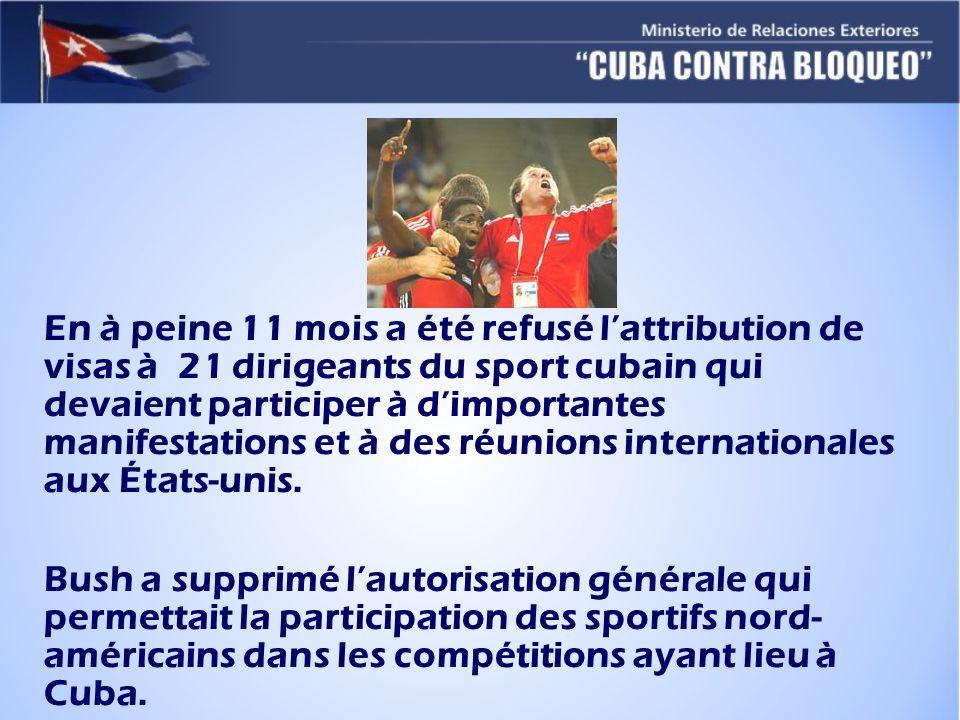 En à peine 11 mois a été refusé lattribution de visas à 21 dirigeants du sport cubain qui devaient participer à dimportantes manifestations et à des réunions internationales aux États-unis.