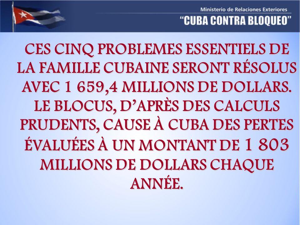 CES CINQ PROBLEMES ESSENTIELS DE LA FAMILLE CUBAINE SERONT RÉSOLUS AVEC 1 659,4 MILLIONS DE DOLLARS. LE BLOCUS, DAPRÈS DES CALCULS PRUDENTS, CAUSE À C