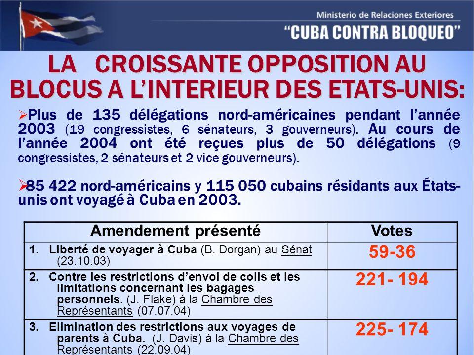 Plus de 135 délégations nord-américaines pendant lannée 2003 (19 congressistes, 6 sénateurs, 3 gouverneurs). Au cours de lannée 2004 ont été reçues pl