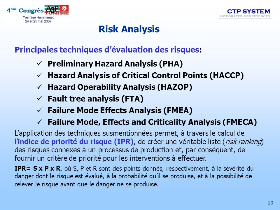 20 Risk Analysis Principales techniques dévaluation des risques: Preliminary Hazard Analysis (PHA) Hazard Analysis of Critical Control Points (HACCP)
