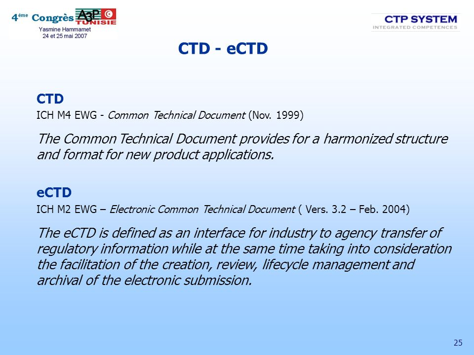 25 CTD ICH M4 EWG - Common Technical Document (Nov. 1999) The Common Technical Document provides for a harmonized structure and format for new product