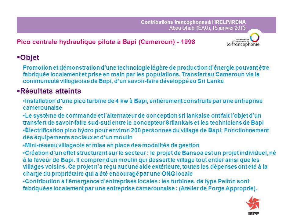 Contributions francophones à lIRELP/IRENA Abou Dhabi (ÉAU), 15 janvier 2013 Pico centrale hydraulique pilote à Bapi (Cameroun) - 1998 Objet Promotion