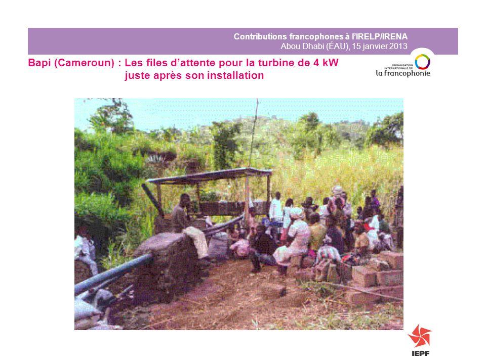 Contributions francophones à lIRELP/IRENA Abou Dhabi (ÉAU), 15 janvier 2013 Bapi (Cameroun) : Les files dattente pour la turbine de 4 kW juste après s