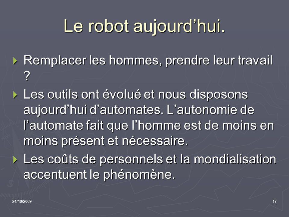 24/10/200917 Le robot aujourdhui. Remplacer les hommes, prendre leur travail ? Remplacer les hommes, prendre leur travail ? Les outils ont évolué et n