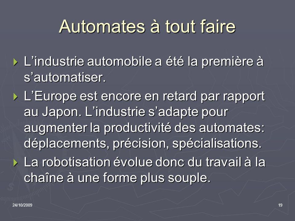 24/10/200919 Automates à tout faire Lindustrie automobile a été la première à sautomatiser. Lindustrie automobile a été la première à sautomatiser. LE