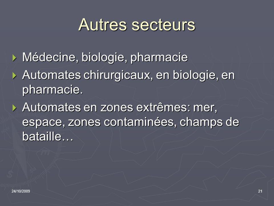 24/10/200921 Autres secteurs Médecine, biologie, pharmacie Médecine, biologie, pharmacie Automates chirurgicaux, en biologie, en pharmacie. Automates