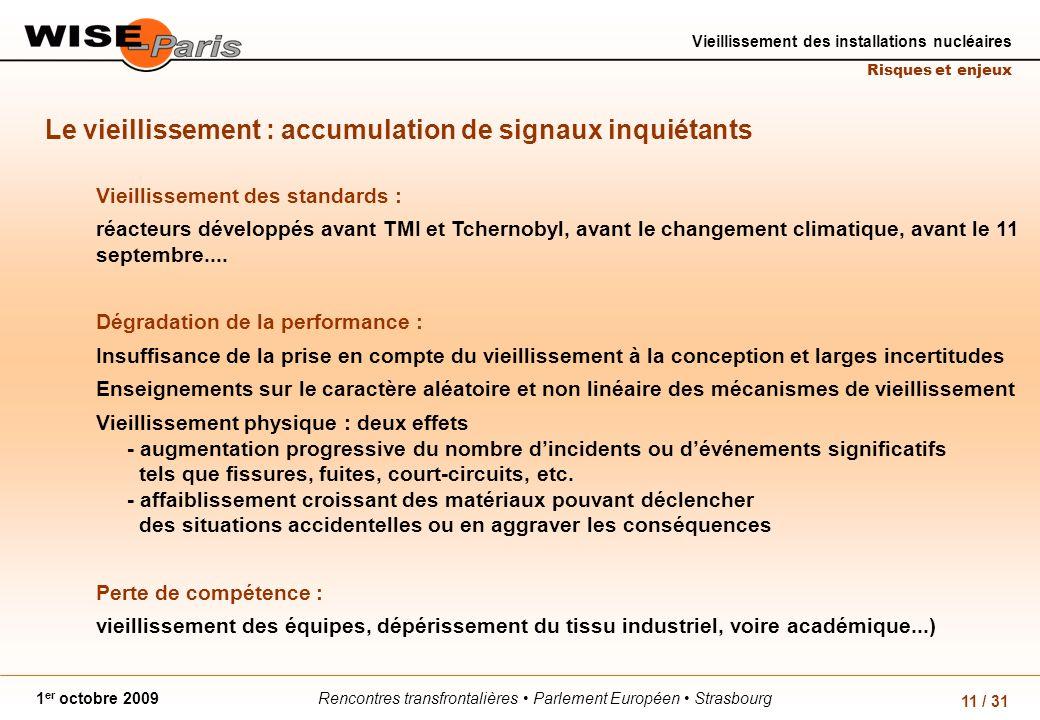 Rencontres transfrontalières Parlement Européen Strasbourg1 er octobre 2009 Vieillissement des installations nucléaires Risques et enjeux 11 / 31 Le v