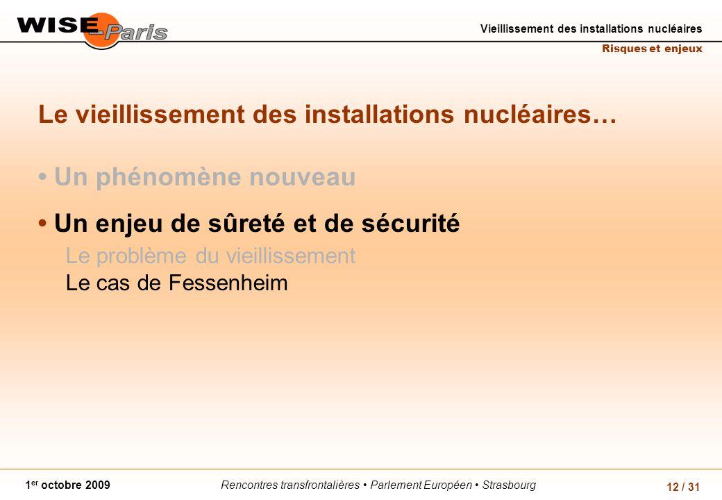 Rencontres transfrontalières Parlement Européen Strasbourg1 er octobre 2009 Vieillissement des installations nucléaires Risques et enjeux 12 / 31 Le vieillissement des installations nucléaires… Un phénomène nouveau Un enjeu de sûreté et de sécurité Le problème du vieillissement Le cas de Fessenheim