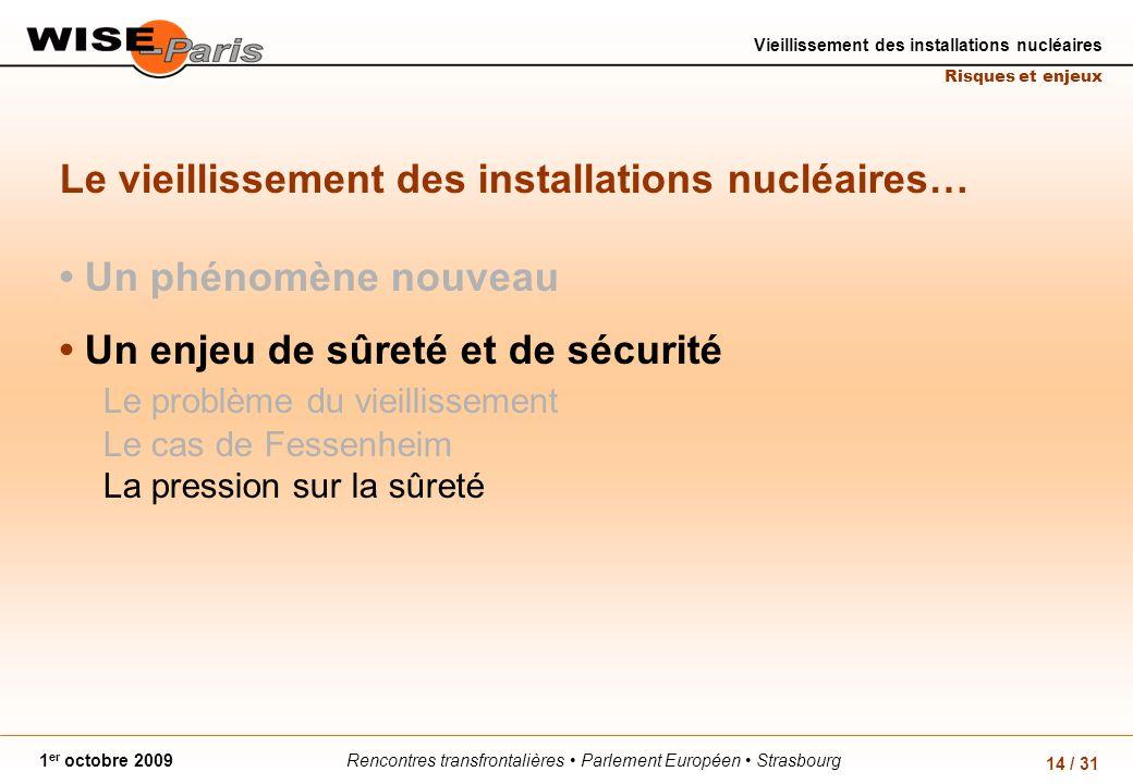 Rencontres transfrontalières Parlement Européen Strasbourg1 er octobre 2009 Vieillissement des installations nucléaires Risques et enjeux 14 / 31 Le v
