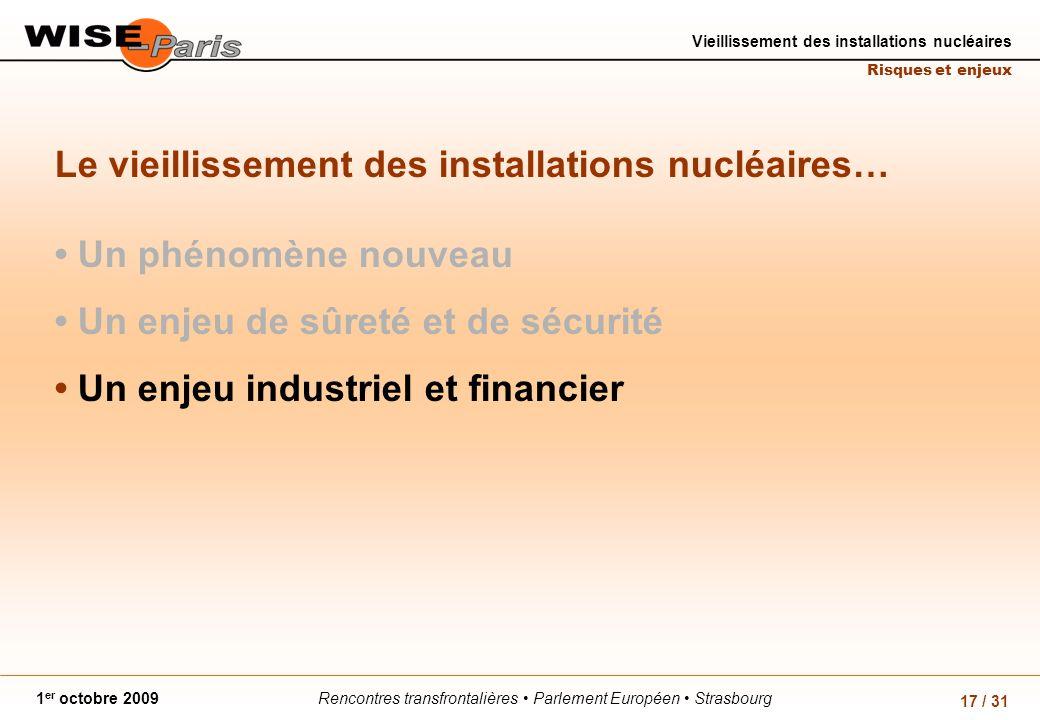Rencontres transfrontalières Parlement Européen Strasbourg1 er octobre 2009 Vieillissement des installations nucléaires Risques et enjeux 17 / 31 Le v