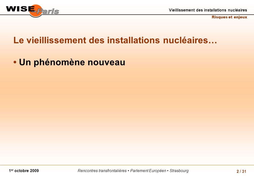 Rencontres transfrontalières Parlement Européen Strasbourg1 er octobre 2009 Vieillissement des installations nucléaires Risques et enjeux 2 / 31 Le vieillissement des installations nucléaires… Un phénomène nouveau