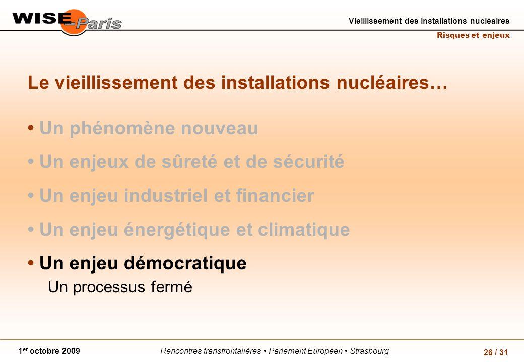 Rencontres transfrontalières Parlement Européen Strasbourg1 er octobre 2009 Vieillissement des installations nucléaires Risques et enjeux 26 / 31 Le vieillissement des installations nucléaires… Un phénomène nouveau Un enjeux de sûreté et de sécurité Un enjeu industriel et financier Un enjeu énergétique et climatique Un enjeu démocratique Un processus fermé