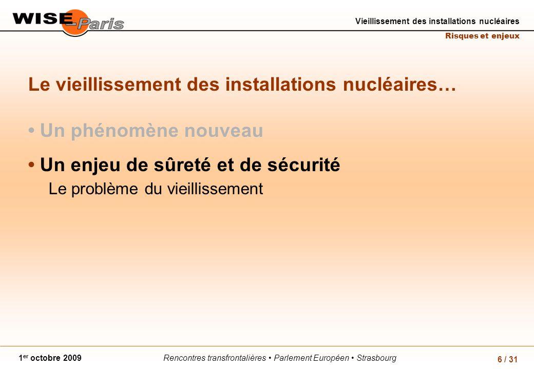 Rencontres transfrontalières Parlement Européen Strasbourg1 er octobre 2009 Vieillissement des installations nucléaires Risques et enjeux 6 / 31 Le vieillissement des installations nucléaires… Un phénomène nouveau Un enjeu de sûreté et de sécurité Le problème du vieillissement