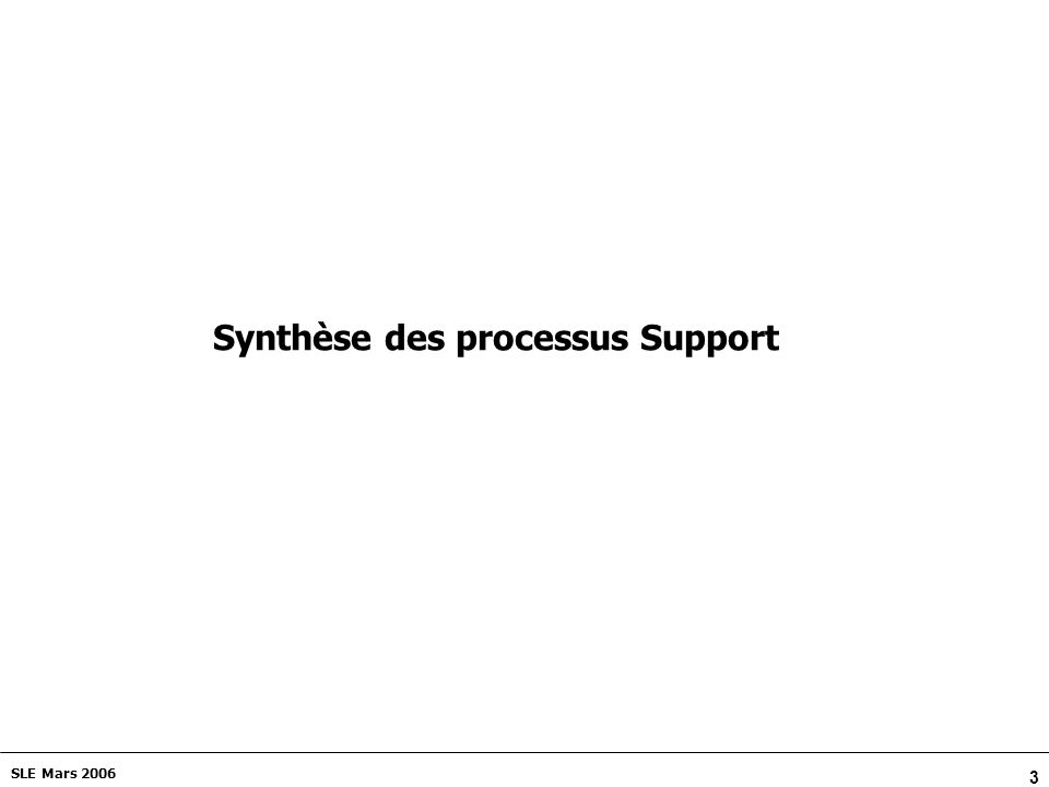 3 SLE Mars 2006 Synthèse des processus Support