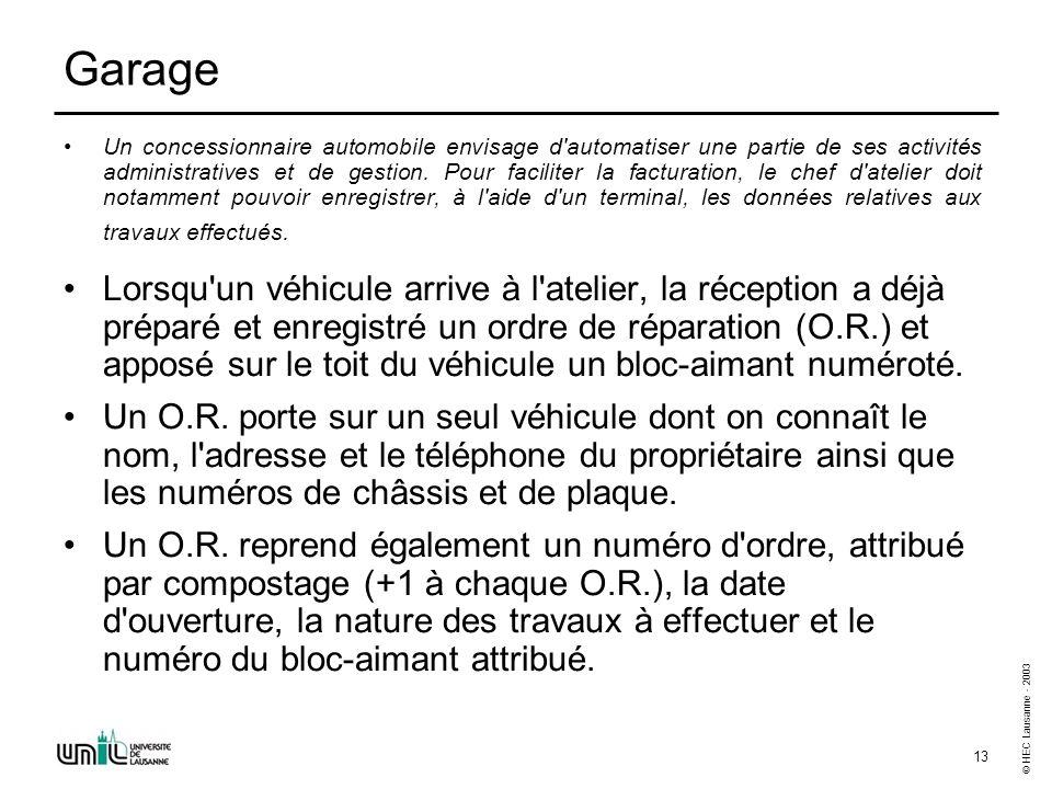 © HEC Lausanne - 2003 13 Garage Un concessionnaire automobile envisage d'automatiser une partie de ses activités administratives et de gestion. Pour f