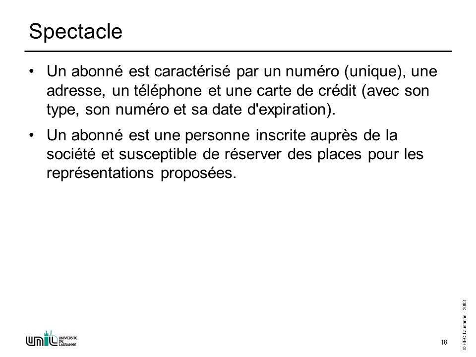 © HEC Lausanne - 2003 18 Spectacle Un abonné est caractérisé par un numéro (unique), une adresse, un téléphone et une carte de crédit (avec son type,