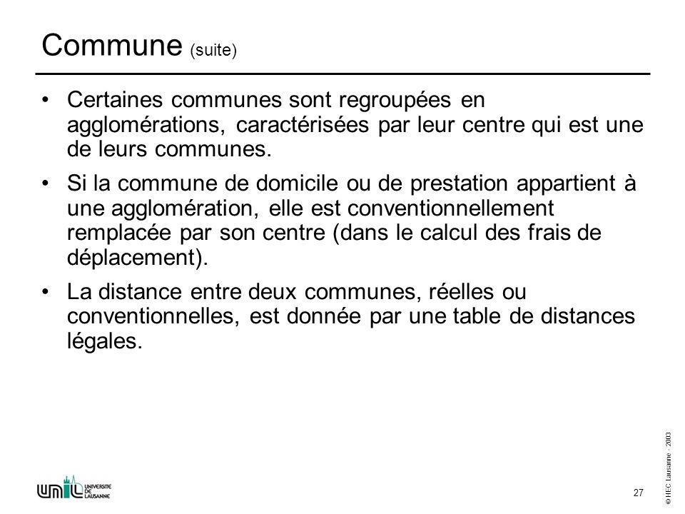 © HEC Lausanne - 2003 27 Commune (suite) Certaines communes sont regroupées en agglomérations, caractérisées par leur centre qui est une de leurs comm