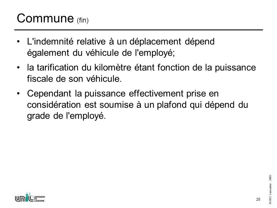 © HEC Lausanne - 2003 28 Commune (fin) L'indemnité relative à un déplacement dépend également du véhicule de l'employé; la tarification du kilomètre é