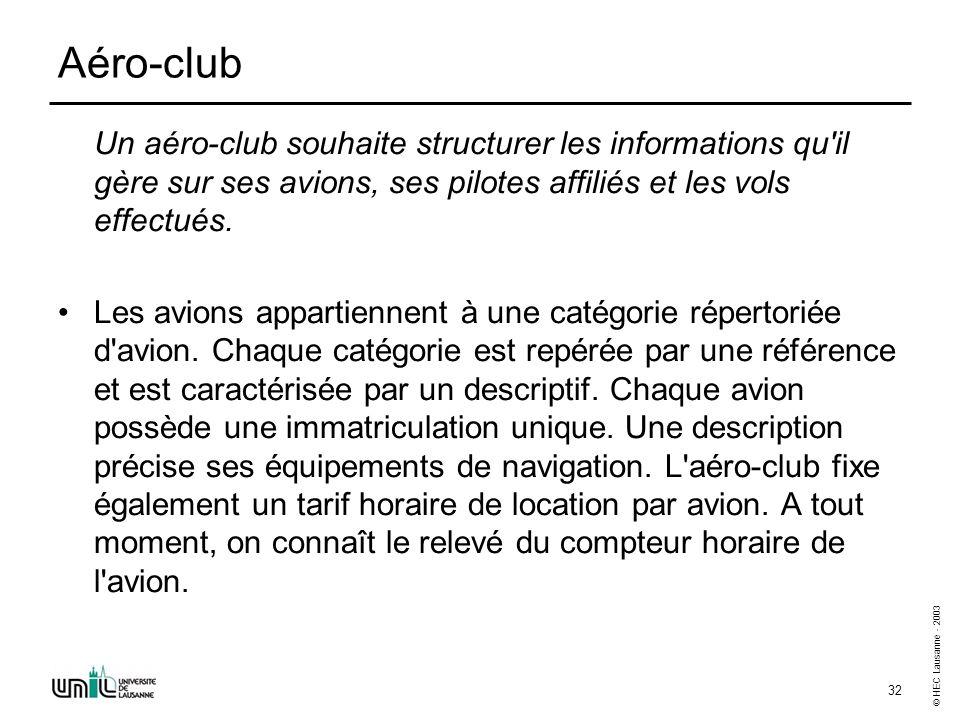 © HEC Lausanne - 2003 32 Aéro-club Un aéro-club souhaite structurer les informations qu'il gère sur ses avions, ses pilotes affiliés et les vols effec