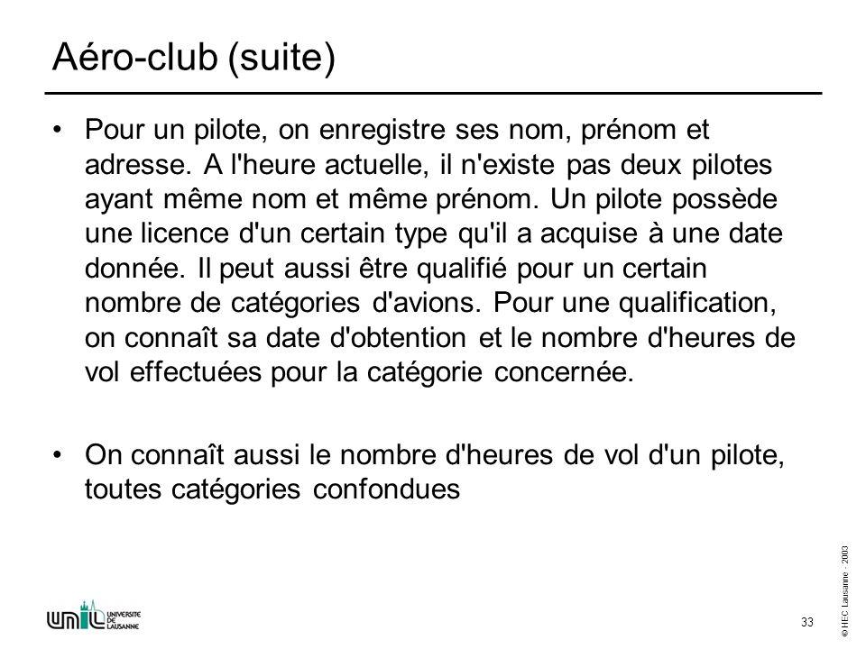 © HEC Lausanne - 2003 33 Aéro-club (suite) Pour un pilote, on enregistre ses nom, prénom et adresse. A l'heure actuelle, il n'existe pas deux pilotes