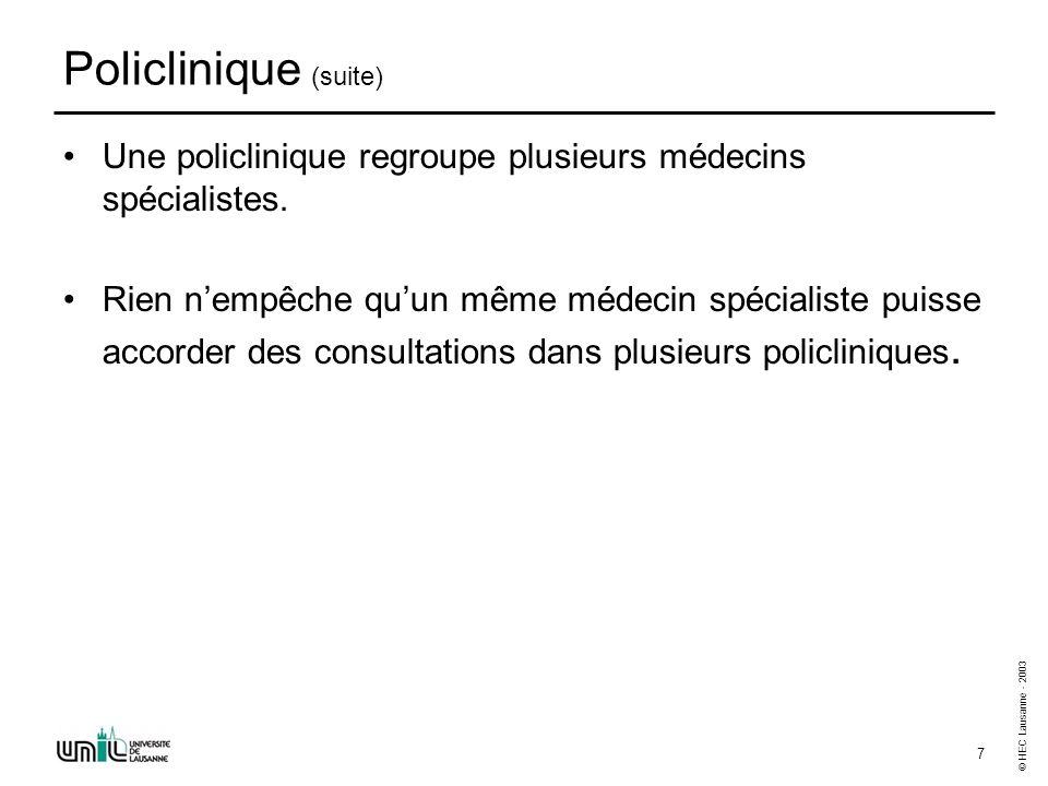© HEC Lausanne - 2003 8 Policlinique (fin) Un médecin spécialiste est non seulement caractérisé par un numéro de matricule et un nom mais aussi par ses spécialités