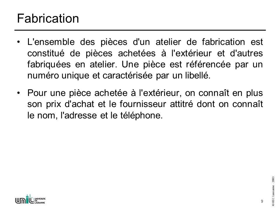 © HEC Lausanne - 2003 10 Fabrication (suite) Par contre, pour une pièce fabriquée dans l atelier, on connaît sa gamme de fabrication.