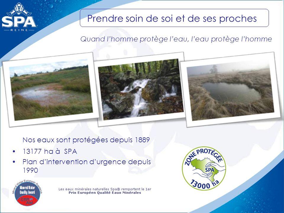 Nos eaux sont protégées depuis 1889 13177 ha à SPA Plan dintervention durgence depuis 1990 Prendre soin de soi et de ses proches Quand lhomme protège